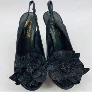 Donald J. Pliner Black Peep Toe Sling Back Heels